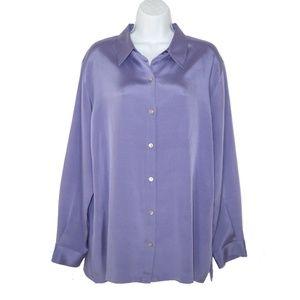 NWT Chico's 2 L Silk Satin Stretch Shirt Top